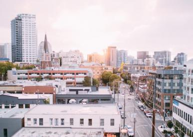 Photo of downtown Seattle at dawn