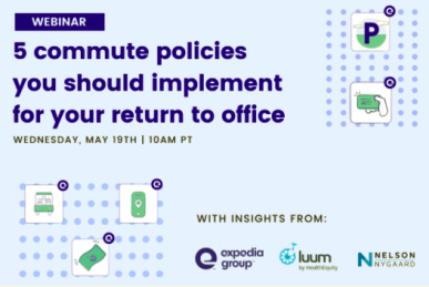 Webinar graphic: commute policies to return to your office