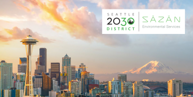 Picture of downtown Seattle during the daytime: S2030D + Säzän Environmental Services logos at top right